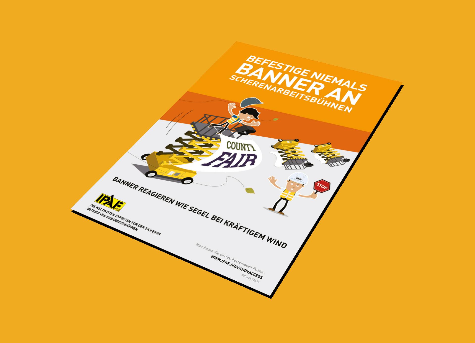 """Kampagnen """"Andy Access"""" Download Deutsch """"Befestige niemals Banner an Scherenarbeitsbühnen"""""""